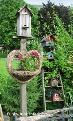 Bird house groupings in the garden. You can use a post or ladder instead of a tree.  Love the nest story!°{}°