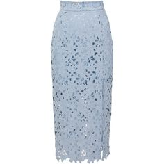 Baum und Pferdgarten Faded Denim Sakiko Lace Skirt (355 CAD) ❤ liked on Polyvore featuring skirts, baum und pferdgarten, floral skirt, midi skirt, lace pencil skirt, blue midi skirt and high-waisted skirts