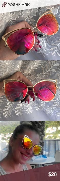 """CASE INCLUDED Hot Flare Mirror Lens Cat Eye Flare (hot pink/orange) mirror lenses. Gold color frame. Approximately 6 1/2"""" temple, 2 1/2"""" eye size. Oversize appearance. Unbranded. Lightweight plastic lenses and frames. Includes small lens cloth and zipper case. Brand new retail w/o tag. No trades, no off App transactions.                  5% off bundles  Accessories Glasses"""