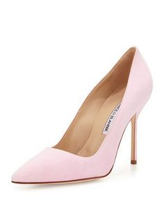 BB Suede 105mm Pump, Light Pink by Manolo Blahnik at Bergdorf Goodman.
