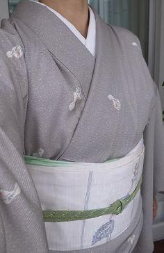 7月上旬、絽飛び瓢箪柄、紗名古屋帯