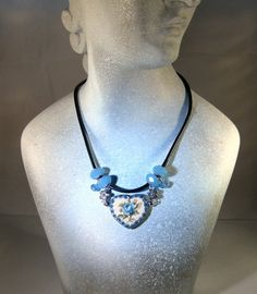 Opal Blue Crystal Beads and Ceramic Heart by blingbychristine, $10.00