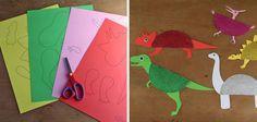 Dinosaurios hechos con platos desechables y cartulina (con plantilla para descargar e imprimir) #crafts #kids #dinosaur