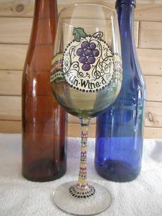 Handpainted Wine Glass by UndertheSunArtStudio on Etsy, $18.00