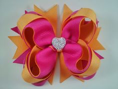 Hot Pink & Cream Orange Stacked Boutique Hair Bow~ Gift for Child~ Photo Prop~ Birthday Bow~ Gift for Her~ Gorgeous Hair Bow~ Cute Hair Bow by GhinesCreations on Etsy