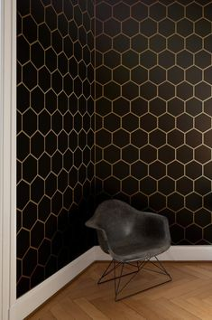 Hexagon tile allover geometric wall stencil by GypsyMintStencils could be used in the master bedroom, setting the scene as it leads to the bathroom.