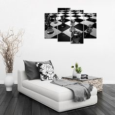 Chess Board Black and White - 4 piece canvas