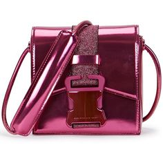 Christopher Kane Safety Buckle Mini Metallic Pink Cross-body Bag ($425) ❤ liked on Polyvore featuring bags, handbags, shoulder bags, pink leather purse, purple leather handbag, mini shoulder bag, pink shoulder bag and leather crossbody purse