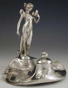 Polished pewter Inkwell with Art Nouveau full figural maiden reading a book - ca. 1906