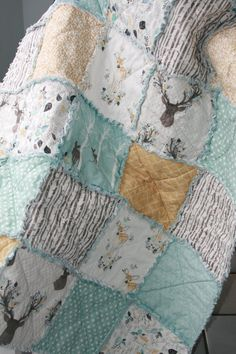 Crib Rag Quilt Gender Neutral Crib Bedding Woodland Nursery Blue Yellow, Baby Boy Crib Bedding, Girl Crib Bedding