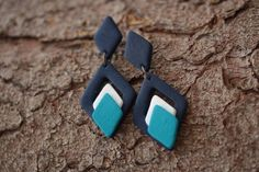 Ombre blue statement earrings, Abstract Contemporary jewelry, dangles Birthday gift for women Big modern jewelry oversized diamond shape