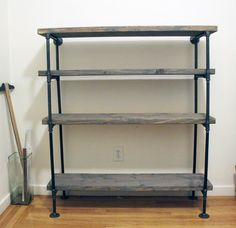 industrial pipe bookshelf pipe bookshelf rustic shelf building with black pipe material and wood flooring feat unique glass industrial pipe bookshelf menards Shelves, Industrial Furniture, Diy Furniture, Bookshelves Diy, Rustic Diy, Industrial Shelf Diy, Industrial Shelving, Home Decor, Home Diy