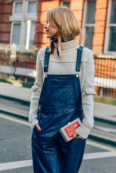 February 21, 2015  Tags Pernille Teisbaek, London, Overalls, Women, Prints, Clutches, Knitwear, Anya Hindmarch, Turtlenecks, Bandanas