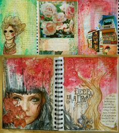 Cut-outs from magazines mixed with watercolor, journal entries, and imagination. These are the first pages of an art journal project.