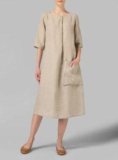 Linen Long Center Pleated Dress