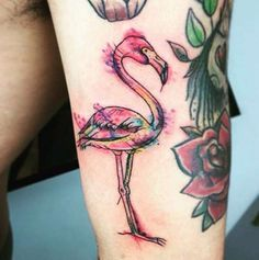 Watercolor Flamingo Tattoo by Sus-Boom