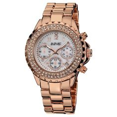 Women's August Steiner Crystal Mother of Pearl Dial Chronograph Bracelet Watch - Rose Gold
