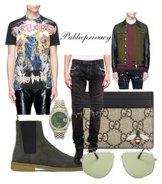 """Desert Island"" by publicprivacy on Polyvore featuring Yves Saint Laurent, Dsquared2, Gucci, Balmain, Rolex, Tom Ford, men's fashion and menswear"
