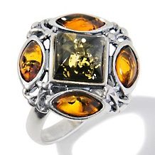 Age of Amber Green and Orange Amber Metalwork Ring