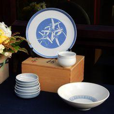 Gosu blue soy dishes and serving bowl, with botanical platter - cobalt slip sgraffito illustration, Clematis microphylla var. microphylla   Dianne Collins, Melbourne