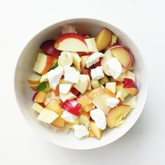 """""""sweet goat cheese salad♡ Iceberg lettuce with apple, plum, cherry tomatoes, cucumber, paprika and honey"""""""