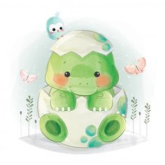 Find Cute Baby Dino Egg stock images in HD and millions of other royalty-free stock photos, illustrations and vectors in the Shutterstock collection. Die Dinos Baby, Baby Dinosaurs, Baby Animals, Cute Animals, Baby Animal Drawings, Cute Drawings, Adobe Illustrator, Cute Dinosaur, Baby Art