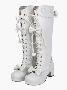 Sweet Matte White Lolita Boots Chunky Square Heels Bows Decor Shoelace online fashion destination for dresses, tops, pants, swimwear, and more. Shop every trend online # Kawaii Fashion, Lolita Fashion, Cute Fashion, Fashion Shoes, Fashion Outfits, Womens Fashion, Kawaii Shoes, Kawaii Clothes, Cute Shoes