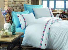 Exclusive Lenjerie de Pat Bumbac Satin Double - Valeria Albastru Comforters, Satin, Blanket, Bed, Home, Creature Comforts, Quilts, Stream Bed, Elastic Satin