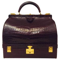 For Sale on - Vintage and Rare Hermes Burgundy Matte Crocodile Sac Mallette elicits admiration and just a little envy! In excellent condition, especially when Vintage Purses, Vintage Bags, Vintage Handbags, Vintage Shoes, Hermes Vintage, Vintage Ideas, Luxury Bags, Fashion Handbags, Crocodile