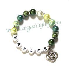 St. Patrick's Day Jewelry. Celtic Knot Charm Green Glass Pearl Monochrome by stargazinglily, $4.50
