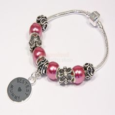 Engraved Bestest Mummy Charm Bracelet - Pink  from Personalised Gifts Shop - ONLY £19.95