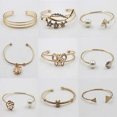 nice  Fashion Women Alloy Bracelet Gold Rhinestone Bangle Charm Cuff Jewelry - For Sale View more at http://shipperscentral.com/wp/product/fashion-women-alloy-bracelet-gold-rhinestone-bangle-charm-cuff-jewelry-for-sale/