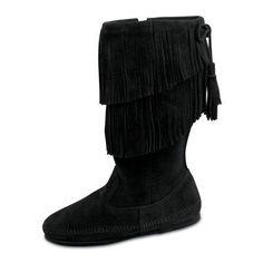 Minnetonka Womens Calf Hi 2-Layer Fringe Boot - Black - 1689-BLACK-5