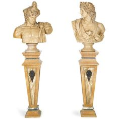 A pair of beige marble busts on gilt bronze-mounted marble pedestals.