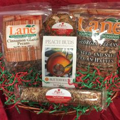 Sweet & Salty Basket from Lane Southern Orchards - A great gift for the holidays! Candy Jars, Pecan Log, Glazed Pecans, Sweet And Salty, Online Gifts, Gift Baskets, Cravings