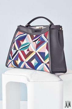 72285ffb2574 Fendi Large Quilted Geometric Peekaboo Satchel Bag