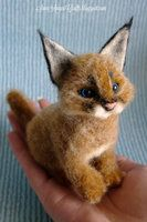 Needle felted sculpture - Caracal cub by SaniAmaniCrafts
