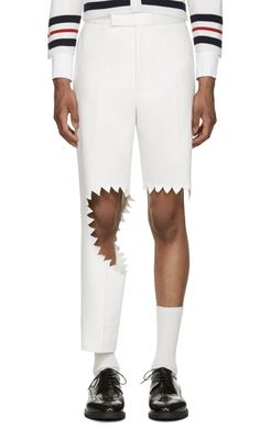 Thom Browne White Denim Trompe L'Oeil Shark Bite Trousers  from SSENSE (men, style, fashion, clothing, shopping, recommendations, stylish, menswear, male, streetstyle, inspo, outfit, fall, winter, spring, summer, personal)