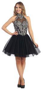 Sleeveless Rhinestones Design Sheer Mini Length Prom Plus Sizes Homecoming Dress   eBay