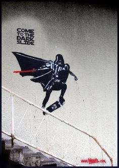 Darth Vader skateboarding by *TheArtofBlouh on deviantART #graffiti #street #art