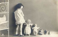 Girl and her dolls...