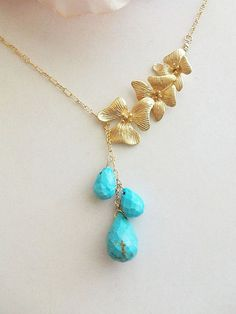 Turquoise Necklace Lariat Necklace Briolette Turquoise by AnnTig, $39.95
