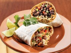 Zesty Black Bean and Veggie Wrap. A family favorite wrap full of fruit, veggies, beans and brown rice. Courtesy of Green Mountain at Fox Run, Vermont Healthy Wraps, Veggie Wraps, Healthy Menu, Healthy Eating Recipes, Cooking Recipes, Spa Food, Beans Vegetable, Wrap Recipes, Kitchens