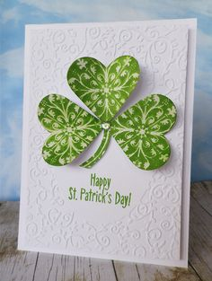 Happy St Patrick's Day! You are in the right place about Patrick day dia de san patricio st Here we offer you the most beautiful. St Patricks Day Cards, Happy St Patricks Day, St. Patrick's Day, St Paddys Day, Flower Cards, Creative Cards, Greeting Cards Handmade, Homemade Cards, Stampin Up Cards