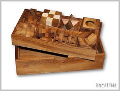 8 Puzzles in a Wooden Box Wooden Games Kids Puzzles by SiamStyles
