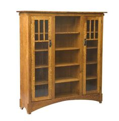 Amish Mission Display Bookcase - Quick Ship Lots of mission style storage for your collection of books. Handcrafted wood furniture for office made in America. #bookcase #woodbookcase #officestorage