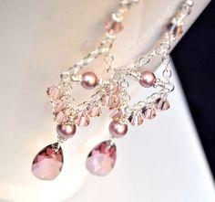 Pink Bridesmaid Jewelry Swarovski Crystal by somethingjeweled
