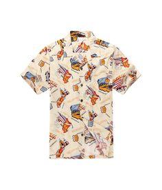 Men Hawaiian Aloha Shirt in Cream Map Route 66