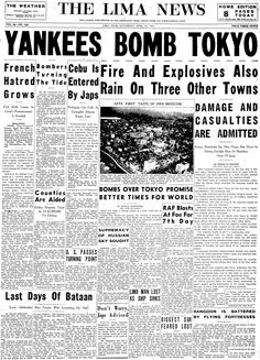 Image detail for -April 18, 1942: Front page of The Lima News, Lima, Ohio.