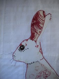rabbit  lapin embroidered brodé broderie embroidery